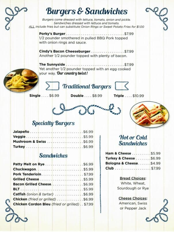 Cindys On The Barge Restaurant Kenlake Marina Menu 2of6