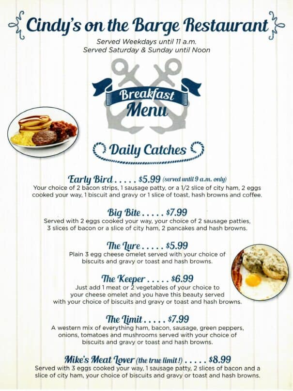 Cindys On The Barge Restaurant Kenlake Marina Menu 3of6