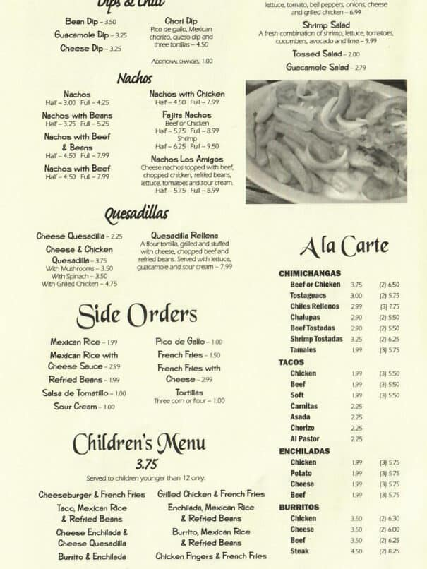 Los Amigos Mexican Restaurant Aurora Kentucky Menu 2of8