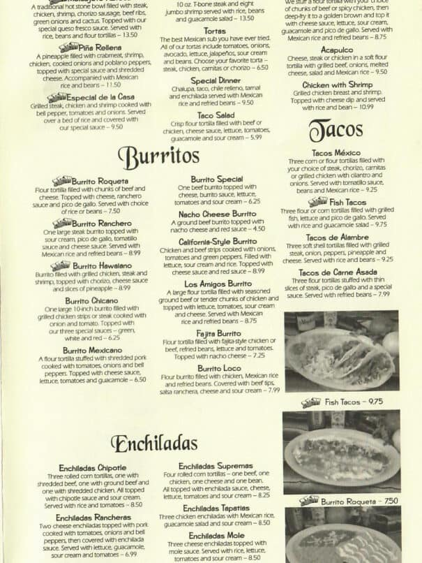 Los Amigos Mexican Restaurant Aurora Kentucky Menu 5of8