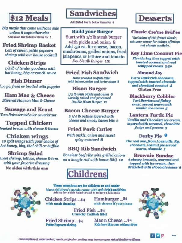Brass Lantern Restaurant Aurora Kentucky Menu 2of2